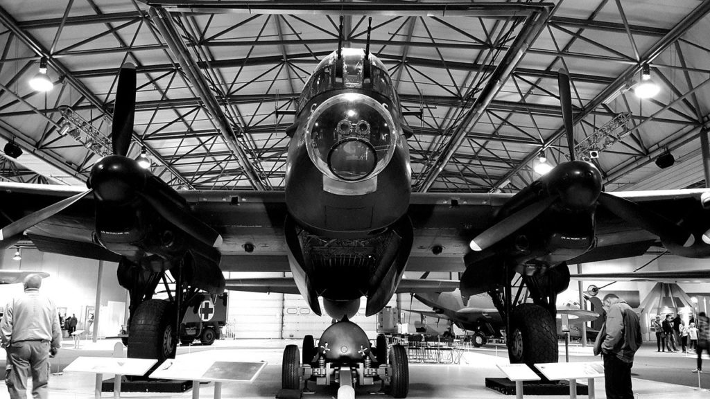 Lancaster bomber in a museum