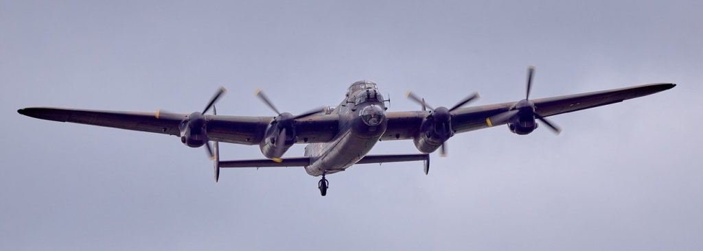 Lancaster bomber in the air